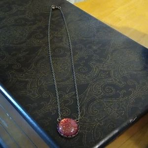 Sparkly red pendant necklace